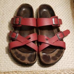 Birk's Red Leather Cross Strap Sandal Womens Sz 7